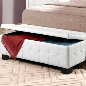 011SB Storage Bench  - White bi-cast vinyl is featured not only on the tufted headboard, but on the drawer fronts of each case piece. Clear hardware is faceted for maximum sparkle and punctuates each drawer front.<br><br>