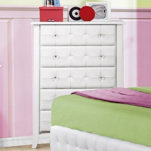109CH Chest - White bi-cast vinyl is featured not only on the tufted headboard, but on the drawer fronts of each case piece and coordinating vanity and storage stools<br><br>