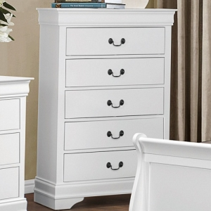 101CH 5 Drawer Chest - Contemporary Style Dresser in Burnished White Finish with metal glides