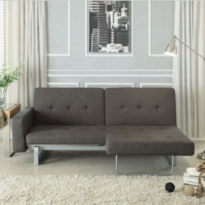 005FN Futon - The configuration of this unique seating group appears to be a contemporary sofa, with the quick release of the click mechanism and a turn of the arms, you have witnessed the transformation into a bed<br><Br>