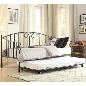 018MDB Metal Daybed W/ Trundle - Finished in black and features the design accent of whimsical swirls. When used as a bed, with the addition of the trundle, your sleep space capability doubles<br><br>