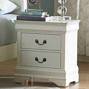 015NS Nightstand - Cottage style night stand in a white finish with metal glides<br><br>