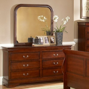890 Mirror - *Dresser Sold Separately*<BR><BR>Traditional style dresser in a warm distressed cherry finish with metal glides<br><br>