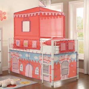 014TB Castle Loft Bed - The Metal Loft Bed is finished in a bright white that contrasts beautifully with the castle-themed tent and base wrap. Hook and look closures allow for easy access to the under-loft play area<br><br>