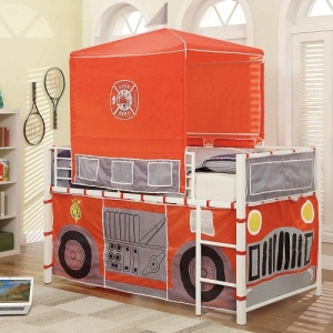 013TB Firetruck Loft Bed - The Metal Loft Bed is finished in a bright white that boldly contrasts with the firetruck-themed tent and base wrap.<br><Br>Hook and loop closures allow for easy access to the under-loft play area<br><br>