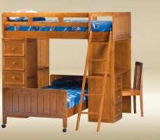 076 Twin Loft Bed with Twin Bottom Bed in Pecan  - L80