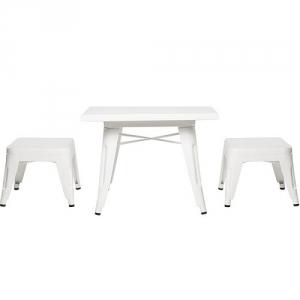 008KTCH White Table and Chair Set - Easy to wipe down post-play<br><br>Backless stools support good play posture<br><br>Stool stack for easy storage<br><br><b>Best for 2.5 - 6 year olds</b><br><Br>Flared legs for anti-tip safety<br><Br>Lead and phthalate safe with non-toxic