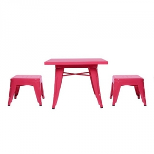 003KTCH Pink Table & Chairs Set - Easy to wipe down post-play<br><Br>Backless stools support good play posture<br><Br>Stool stack for easy storage<br><br><b>Best for 2.5 - 6 year olds</b><br><br>Flared legs for anti-tip safety<br><br>Lead and phthalate safe with non-toxic