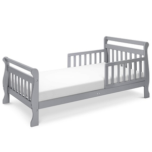 007TRB Toddler Sleigh Bed in Grey - Finish:Grey<br><br>Available in Cherry, Espresso & White<br><br>Assembly Required<br><br>Made in China<br><br>Assembled Weight: 23 lbs<br><br>Dimensions: 57 x 29.625 x 28.125