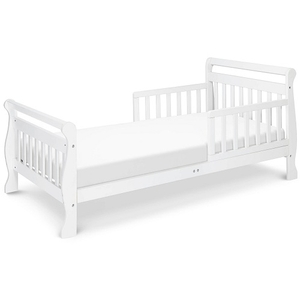 014TRB Toddler Sleigh Bed in White - Finish: White<br><br>Available in Cherry, Grey & Espresso<br><br>Assembly Required<br><br>Made in China<br><br>Assembled Weight: 23 lbs<br><br>Dimensions: 57 x 29.625 x 28.125