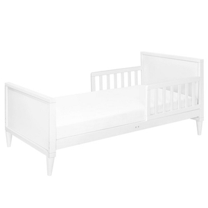 006TRB Simple Two Tone Toddler Bed in White - Finish: White<br><br>Available in Grey/White, White/Walnut, Washed Natural/White<br><br>Assembly Required<br><br>Made in Taiwan<br><br>Assembled Weight: 28.66<br><br>Dimensions: 55