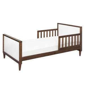 012TRB Simple Two Tone Toddler Bed in White/Walnut - Finish: White/Walnut<br><br>Available in Grey/White, White, & Washed Natural/White<br><br>Assembly Required<br><br>Made in Taiwan<br><br>Assembled Weight: 28.66 lbs<br><br>Dimensions: 55