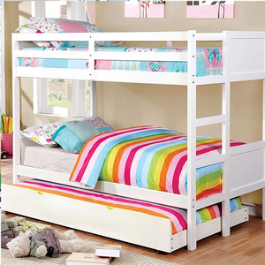A0010FF Full/Full Bunk Bed in White - Finish: White<br><br>Available in Dark Walnut or Gray Finish<br><br>Available in Twin/Twin Bunk<br><br>Foundation Required<br><br>Dimensions: 77 1/2