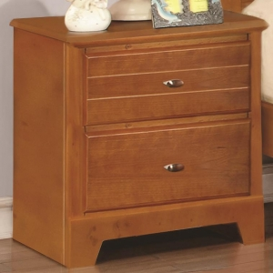 003NS Night Stand with 2 Drawers - Matching case pieces have dovetail joinery with kenlin glides for a smooth and solid drawer foundation<br><br>Metal finish knobs accent drawer fronts<br><br><b>