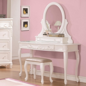 004V Vanity Desk with Cabriole Legs - *Mirror sold separately*<br><br>Decorated with leaf motifs, cabriole legs and clear rosette knobs.<br><br> <b>Dimensions:</b>