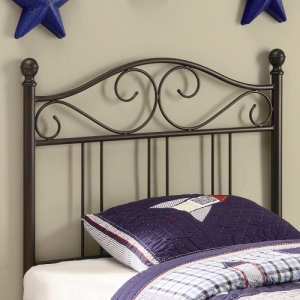 201HB Metal Twin Headboard - Twin size headboard in a dark metal finish<br><br>Constructed from durable two inch metal tubing<br><br>