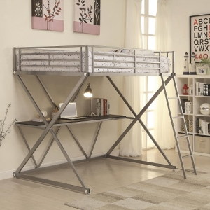 MLB005 Full Workstation Loft Bed with Desk - *Twin Size Available*<br><BR>Metal workstation full loft bed finished in silver with full length guard rails and coordinating ladder. Desk below provides a lot of area to study or work.<br><Br>