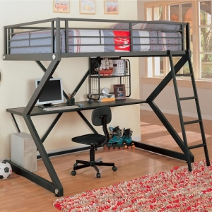 MLB009 Workstation Full Loft Bed - This metal workstation full loft bed finished in metal is constructed from strong two inch metal tubing. It has full length guard rails with bilateral built-in ladders. Desk has keyboard tray and shelf for storage.<br><br>