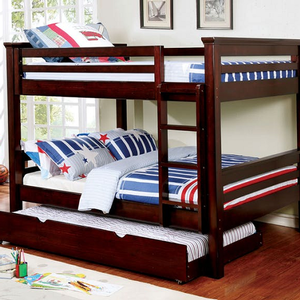 "A0009FF Full/Full Bunk Bed in Dark Walnut - Finish: Dark Walnut<br><br>Slat Kit Included<br><br>*Trundle or Trundle/Drawers Optional<br><br>Available in Twin/Twin, Twin/Full & Twin XL/Queen Size<br><br>Dimensions: 82 1/4""L X 59 1/8""W X 65""H"